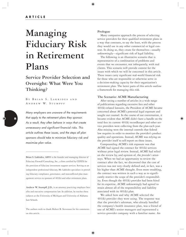 Managing Fiduciary Risk